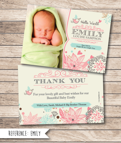 Cityprint Print Design Wedding Invitations Memoriam Cards - Baby